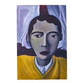 """Vintage """"Sad Boy in Yellow"""" Painting For Sale"""