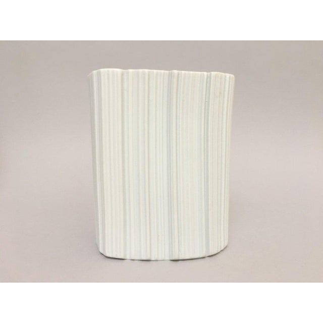 Modernist White Bisque Porcelain Naaman Ridged Vase For Sale - Image 10 of 10