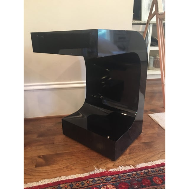 Vintage Lacquered Black Fitted Side Tables - A Pair - Image 5 of 11