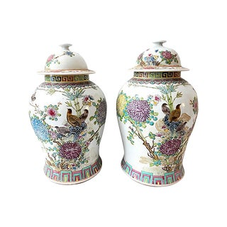 "Chinoiserie Famille Rose Ginger Jars - a Pair 16.5"" H For Sale"