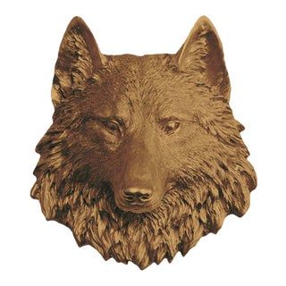 Wall Charmers Faux Taxidermy Bronze Mini Wolf Mount For Sale