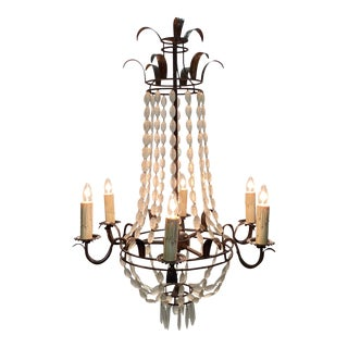 Italian Empire Style Iron and Frosted Glass Chandelier For Sale
