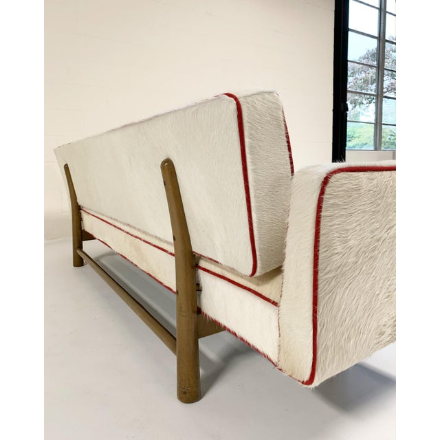 1950s Vintage Edward Wormley for Dunbar Model 5316 Sofa Restored in Brazilian Cowhide With Loro Piana Red Cashmere Welting For Sale - Image 5 of 11