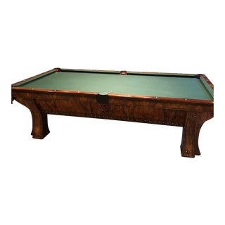 Brunswick Billiards Marquette Circassian Walnut & Mother of Pearl Pool Table For Sale