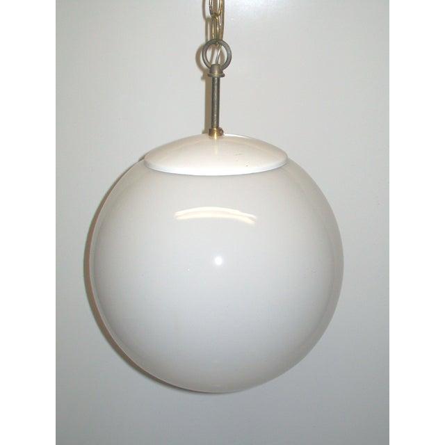 White Glass Globe Hanging Light | Chairish