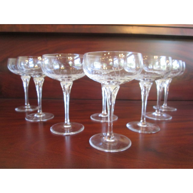 Mid-Century Modern Gorham Jolie Etched Crystal Cocktail Coupes - S/8 For Sale - Image 3 of 6