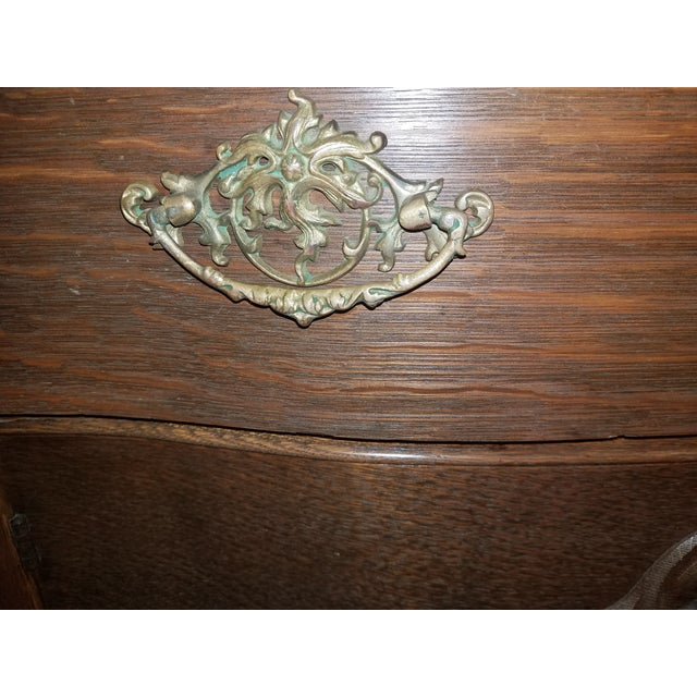 Antique Oak Sideboard Buffet With Mirror For Sale - Image 6 of 13