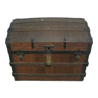 19th Century Excelsior Slatted Oak Trunk Antique Steamer Trunk For Sale