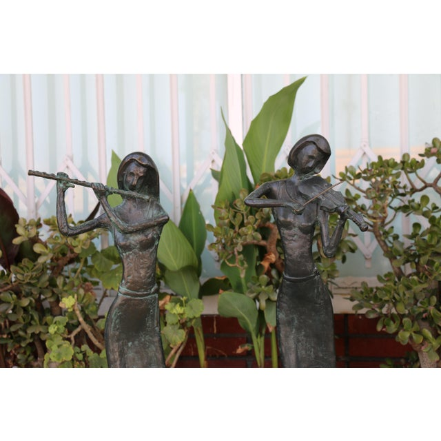 Bronze and Marble Pair of Musician Table Statues For Sale - Image 4 of 11