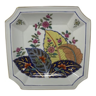 Vintage Seymour Mann Square Tray in Pattern Tobacco Leaf Genus Nicotinia For Sale