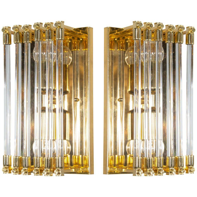 1970s Pair of Mid-Century Modernist Brass and Glass Rod Sconces For Sale - Image 5 of 5