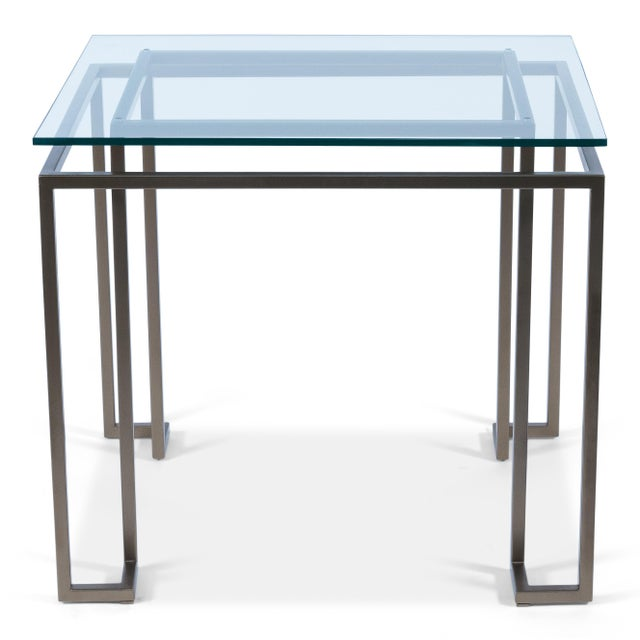 """Iron,1/2""""Thick Glass Top - Gold Finish Base"""