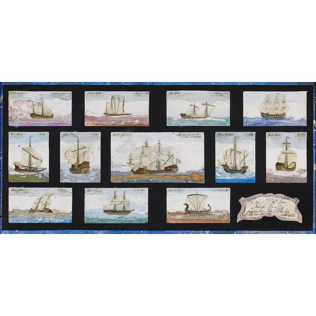 Paint Scagliola on Slate of Mediterranean Warships For Sale - Image 7 of 8