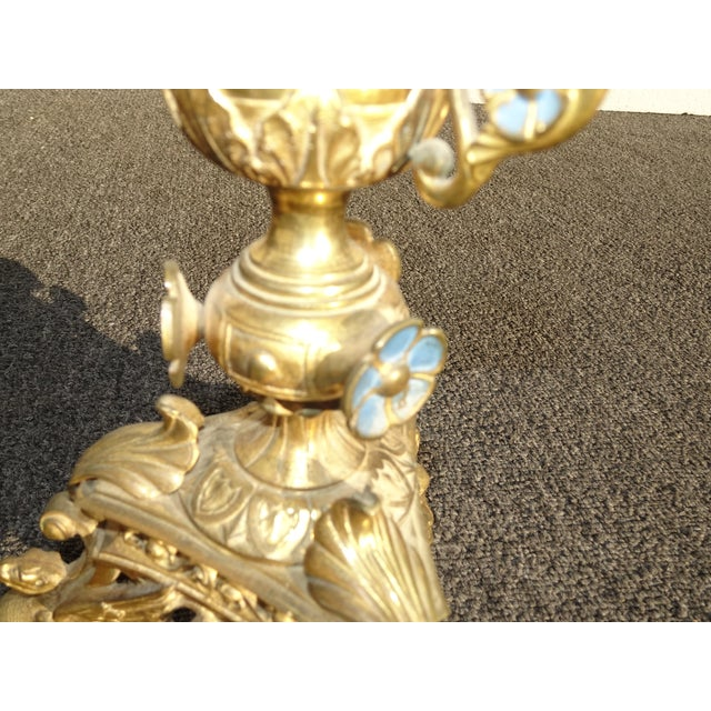 """Pair Tall 36""""h Vintage Gold Table Top Floral Candelabras Brass Candle Holders Light For Sale - Image 10 of 13"""