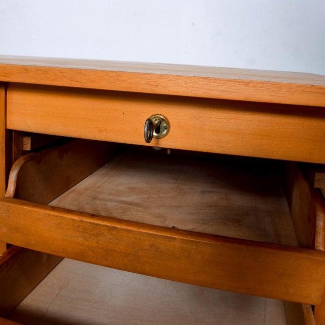 Adolf Maier Blonde Bauhaus Desk Locking Tambour Doors, Germany For Sale In San Diego - Image 6 of 9