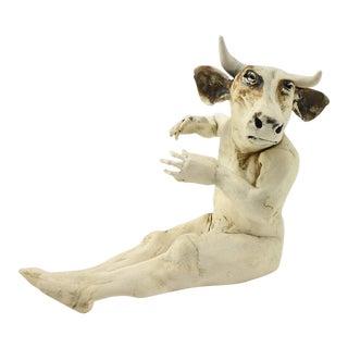 Aggie Zed Contemporary Ceramic Figural Sculpture of Bullman, 1990s