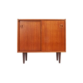 Danish Mid-Century Two Door Teak Cabinet For Sale