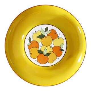 Vintage Lorrie Design Serving Tray Yellow Fruit Apples Oranges Round Mid Century For Sale