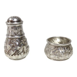 Antique Sterling Silver Salt Cellar & Pepper Shaker Set For Sale