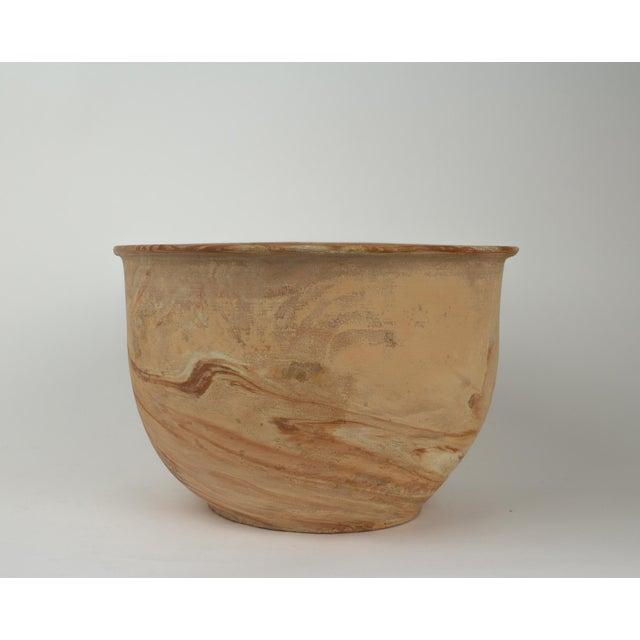 Large Vintage Orange Terra Cotta Swirl Decorative Bowl Planter For Sale In New York - Image 6 of 13