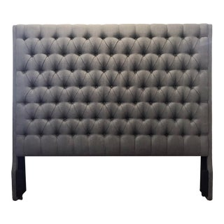 Transitional King Grey Textured Linen Tufted Headboard For Sale