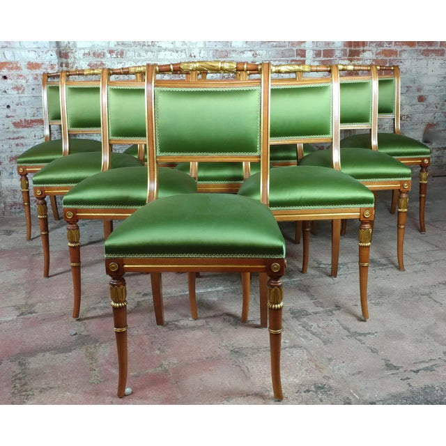 English Regency Parcel Gilt W/Satin Green Upholstery Dining Chairs -Set of 10 - Image 3 of 8