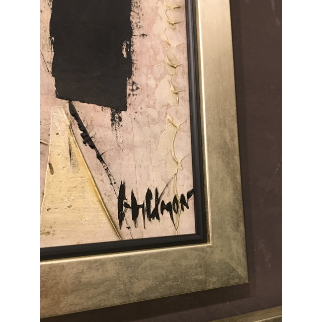 1960s vintage abstract painting by Graham Harman in an antique frame