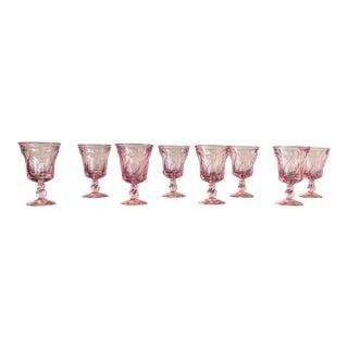 Set of 8 Pink Fostoria Wine Glasses For Sale