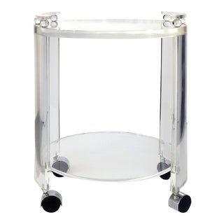 Round Lucite Bar Cart on Casters For Sale