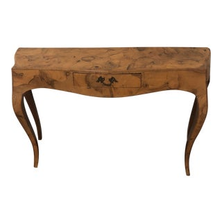1960s Vintage Burlwood Console Table For Sale