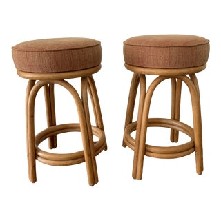 Rattan Swivel Stools - Pair For Sale