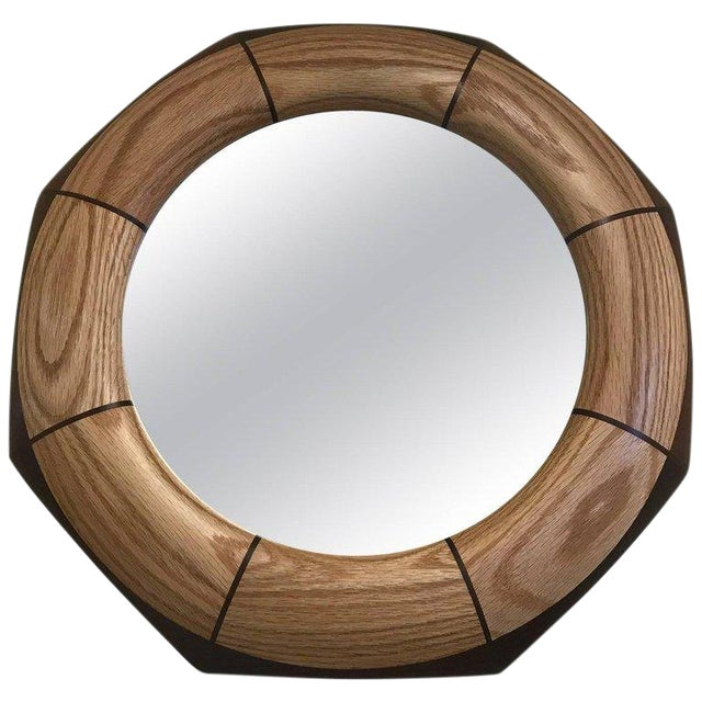 Custom Octagonal Walnut and Oak Inlay Mirror For Sale