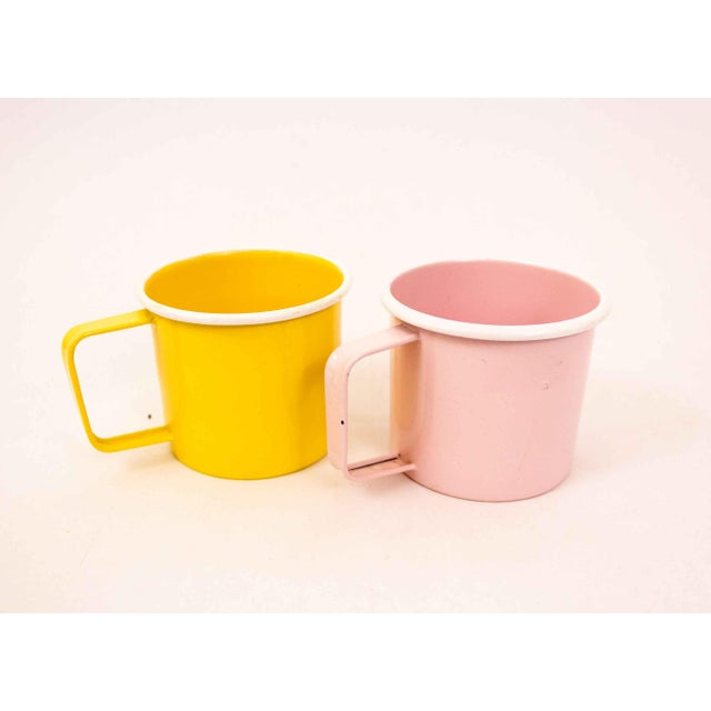 Mid-Century Pastel Enamel Mugs - a Pair For Sale - Image 4 of 8