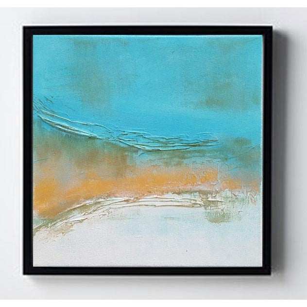 Abstract Abstract Modern Textured Metallic Gold & Turquoise Painting on Canvas For Sale - Image 3 of 4