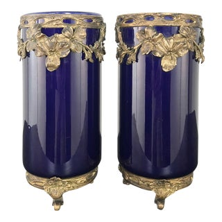 Pair 19th Century Cobalt Porcelain & Bronze Vases For Sale