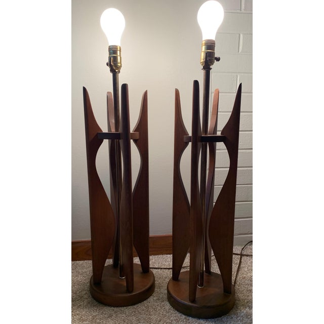 Vintage Sculptural Walnut Lamps Mid Century Modern Danish Pearsall Kagan - a Pair For Sale - Image 4 of 11