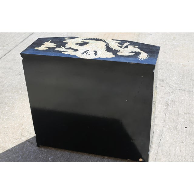 Vintage Chinoiserie Black Lacquered Cabinet With Carved Dragons For Sale - Image 10 of 12