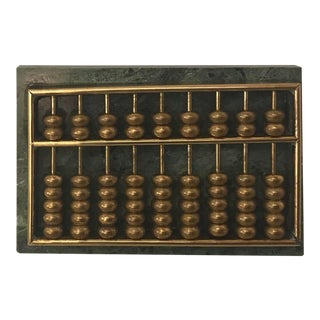 Vintage Marble and Brass Petite Abacus For Sale