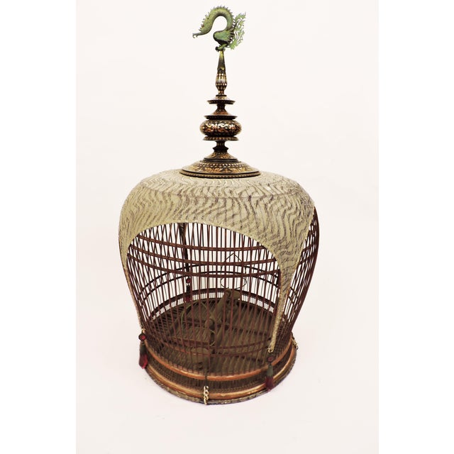 Gold Inlaid Bird Cage from Thailand For Sale - Image 8 of 8