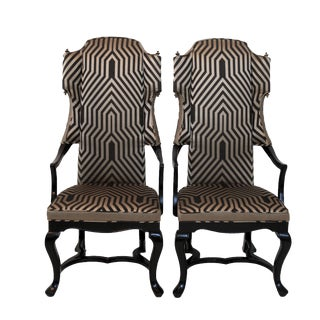 1960s Vintage Drexel Geometric Tall Wingback Arm Chairs - a Pair For Sale