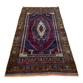 1960s Vintage Turkish Hand Knotted Low Pile Oushak Rug For Sale