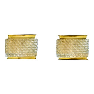 Kalmar Brass & Murano Mid Century Modern Glass Sconces - a Pair For Sale