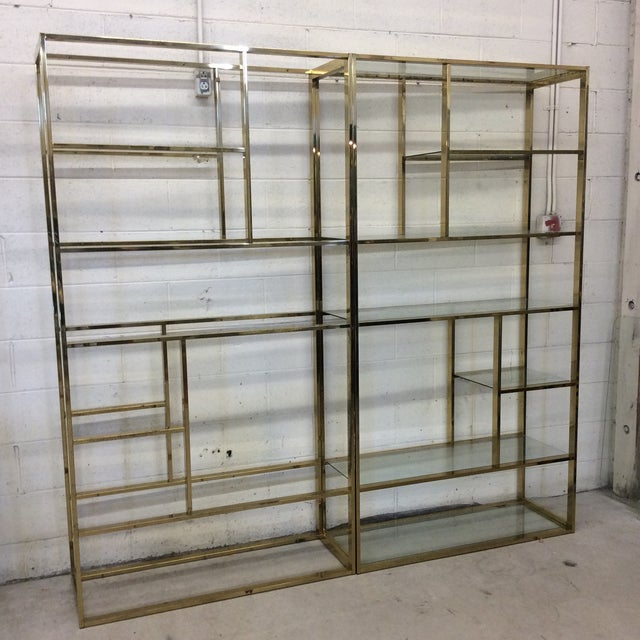 1970s Brass & Glass Etageres - a Pair For Sale - Image 10 of 11
