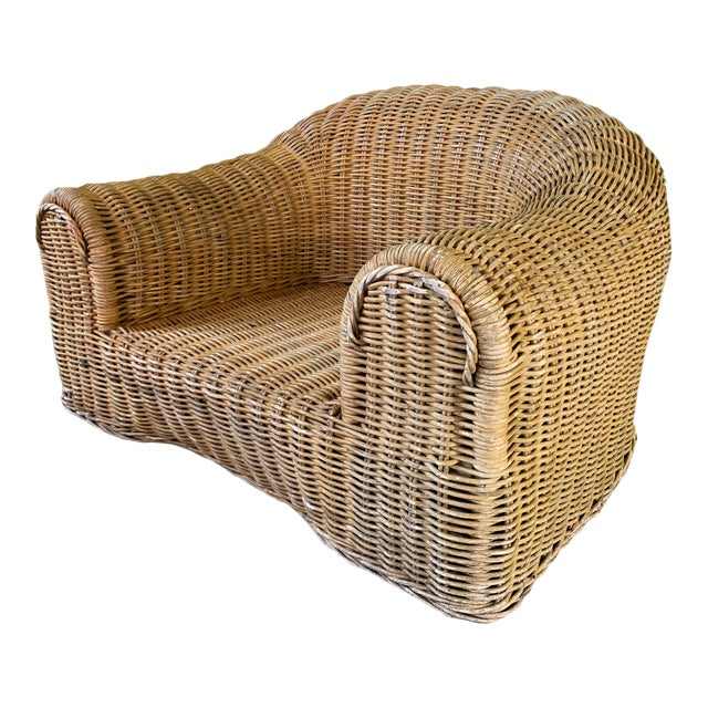 Sculptural Wicker Chair in the Manner of Michael Taylor For Sale