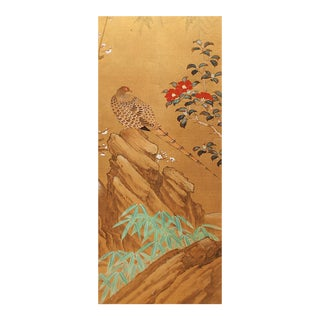 C. 1960s Large Japanese Silk Painted Panel For Sale