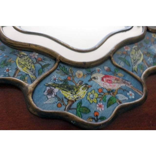Folk Art Reverse Glass Hand-Painted Bird Mirror For Sale - Image 3 of 9