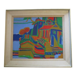 Guido Augusts Painting Rare Latvia Artist Abstract Expressionism Bay Area Modern For Sale