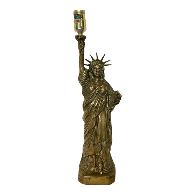 Vintage Brass Statue of Liberty Lamp For Sale