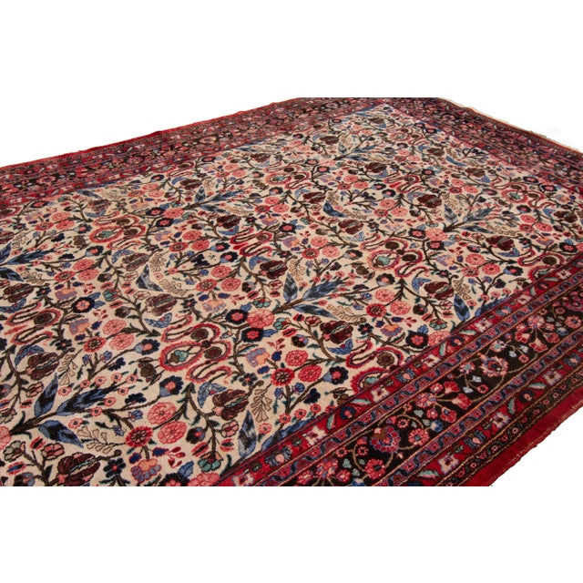 """White Vintage Persian Rug, 8'10"""" X 12'09"""" For Sale - Image 8 of 9"""