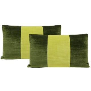 "12""x18"" Olive and Citrine Strie Velvet Lumbar Pillows - a Pair For Sale"